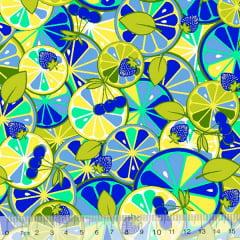 Tecido Tricoline Frutas Citrus Colorido - Azul