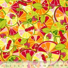 Tecido Tricoline Frutas Citrus Colorido - Vermelho - 100% Algodão - Largura 1,50m