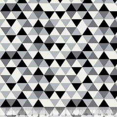 Tecido Tricoline Geométrico Ibira Mini - Preto - 100% Algodão - Largura 1,50m