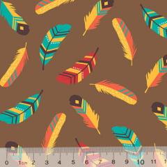 Tecido Tricoline Ind. Penas Coloridas - Marrom
