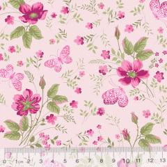 Tecido Tricoline Jardim das Borboletas - Flores