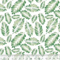Tecido Tricoline Leafs Mini Folhas - Fundo Branco - 100% Algodão - Largura 1,50m