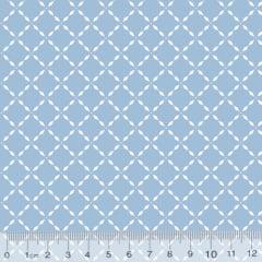 Tecido Tricoline Pan Mini Gradinhas - Azul Claro - 100% Algodão - Largura 1,50m