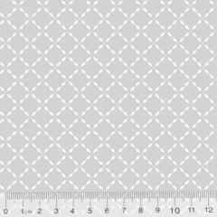 Tecido Tricoline Pan Mini Gradinhas - Cinza - 100% Algodão - Largura 1,50m