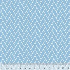 Tecido Tricoline Pan Mini Tijolinhos - Azul Claro - 100% Algodão - Largura 1,50m