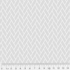 Tecido Tricoline Pan Mini Tijolinhos - Cinza - 100% Algodão - Largura 1,50m