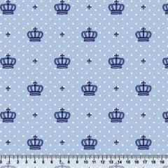 Tecido Tricoline Mista Coroas e Poá - Azul - 90% Algodão 10% Poliéster - Largura 1,50m