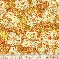 Tecido Tricoline Mista Floral Hibisco Fundo Manchado - Amarelo - 90% Algodão 10% Poliéster - Largura 1,50m