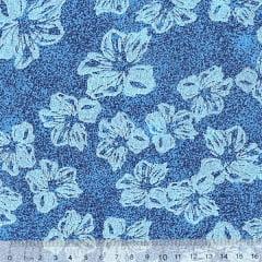Tecido Tricoline Mista Floral Hibisco Fundo Manchado - Azul - 90% Algodão 10% Poliéster - Largura 1,50m