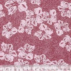 Tecido Tricoline Mista Floral Hibisco Fundo Manchado - Vermelho - 90% Algodão 10% Poliéster - Largura 1,50m