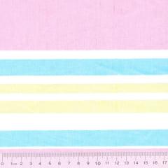 Tecido Tricoline Mista Listras - Tutti Fruti - 90% Algodão 10% Poliéster - Largura 1,50m