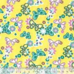 Tecido Tricoline Mista Pooly - Borboletas - Amarelo (80% poliéster / 20% algodão) (Largura: 1,40m)
