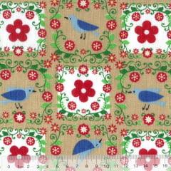 Tecido Tricoline Mista Pooly - Passarinhos e Flores - Bege (80% poliéster / 20% algodão) (Largura: 1,40m)
