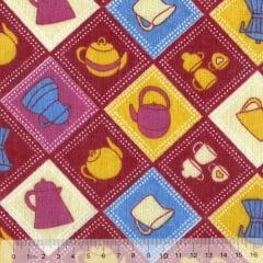 Tecido Tricoline Mista Pooly - Chazinho Patch - Vermelho (80% poliéster / 20% algodão) (Largura: 1,40m)