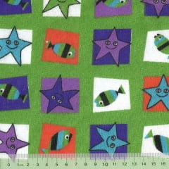 Tecido Tricoline Mista Pooly - Estrela e Peixe - Verde (80% poliéster / 20% algodão) (Largura: 1,40m)