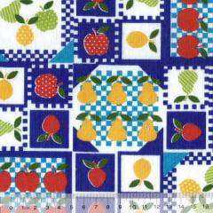 Tecido Tricoline Mista Pooly - Frutas Patch - Azul (80% poliéster / 20% algodão) (Largura: 1,40m)