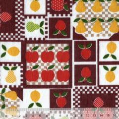 Tecido Tricoline Mista Pooly - Frutas Patch - Vinho (80% poliéster / 20% algodão) (Largura: 1,40m)