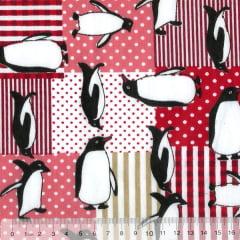 Tecido Tricoline Mista Pooly - Pinguim Patch - Vermelho (80% poliéster / 20% algodão) (Largura: 1,40m)