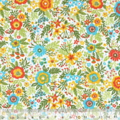 Tecido Tricoline Mista Pop Textoleen Jardim Samba - Amarelo - 50% Algodão 50% Poliéster - Largura 1,38m