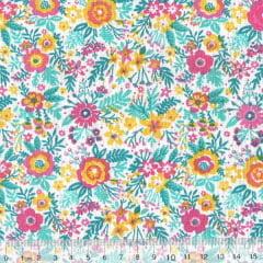 Tecido Tricoline Mista Pop Textoleen Jardim Samba - Rosa