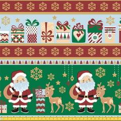 Tecido Tricoline Natal Barrado Merry Christmas - Verde - 100% Algodão - Largura 1,50m