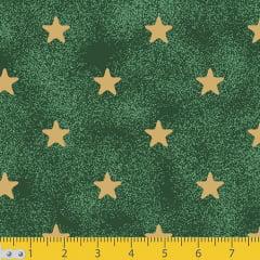 Tecido Tricoline Natal Estrelinhas - Verde - 100% Algodão - Largura 1,50m