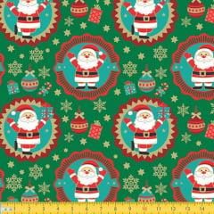 Tecido Tricoline Natal Papai Noel e Guirlandas - Verde - 100% Algodão - Largura 1,50m
