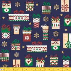 Tecido Tricoline Natal Presentes - Azul - 100% Algodão - Largura 1,50m