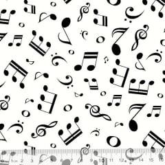 Tecido Tricoline Notas Musicais - Fundo Branco