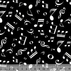 Tecido Tricoline Notas Musicais - Fundo Preto