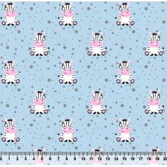 Tecido Tricoline Pequena Zebra - Fundo Azul - 100% Algodão - Largura 1,50m