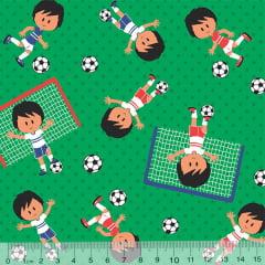 Tecido Tricoline Pequeno Jogador de Futebol - Verde - 100% Algodão - Largura 1,50m