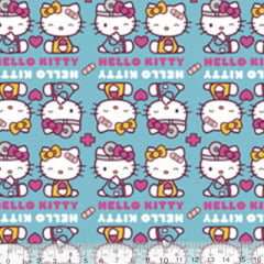 Tecido Tricoline Personagens F. Maluhy - Hello Kitty Be Carefull