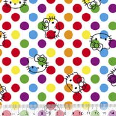Tecido Tricoline Personagens F. Maluhy - Hello Kitty Bolas Coloridas - 100% Algodão - Largura 1,50m