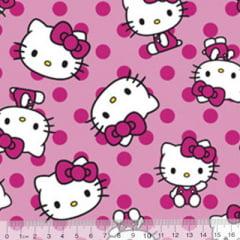 Tecido Tricoline Personagens F. Maluhy - Hello Kitty Bolinhas Rosas - 100% Algodão - Largura 1,50m