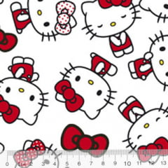 Tecido Tricoline Personagens F. Maluhy - Hello Kitty Clássico Fundo Branco - 100% Algodão - Largura 1,50m