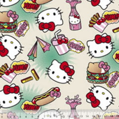 Tecido Tricoline Personagens F. Maluhy - Hello Kitty Hot Dog