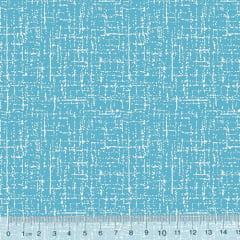 Tecido Tricoline Riscadinho Pátina - Azul Piscina c/ Branco - 100% Algodão - Largura 1,50m