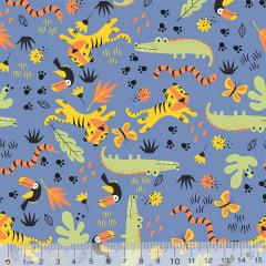 Tecido Tricoline Tigrinhos e Seus Amigos - Azul - 100% Algodão - Largura 1,50m
