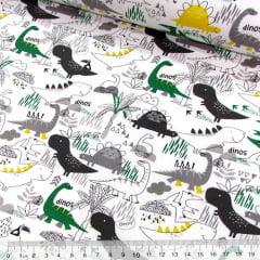 Tricoline Alegria de Criança - Dinos - Verde e Amarelo (Largura: 1,50 m)