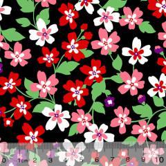 Tricoline Alg. Floral - Catarina - Preto