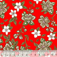 Tecido Tricoline Alg. Floral Libelly - Vermelho - 100% Algodão - Largura 1,45m