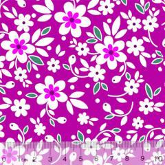 Tecido Tricoline Alg. Floral - Sunny - Fundo Rosa