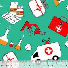 Tecido Tricoline Alg. Hospital - Fundo Verde