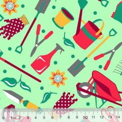 Tricoline Alg. Jardinagem - Fundo Verde
