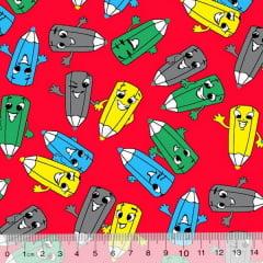 Tecido Tricoline Alg. Pequenos Lápis Coloridos - Fundo Vermelho