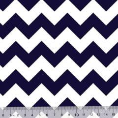 Tricoline Chevron Design - Azul Marinho (Largura: 1,50 m)