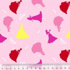 Tricoline Cinderela - A Princesa - Fundo Rosa Claro (Largura: 1,50 m)