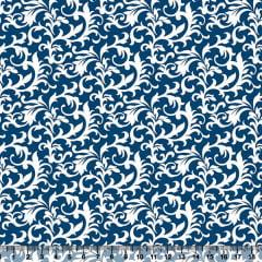 Tecido Tricoline Coleção Composê Ideal Azul Royal - Arabesco