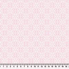 Tecido Tricoline Coleção Composê Ideal Rosa Claro - Flores